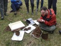 ESB President keiron Brown demonstrates earthworm sampling. Photo: C.Bell